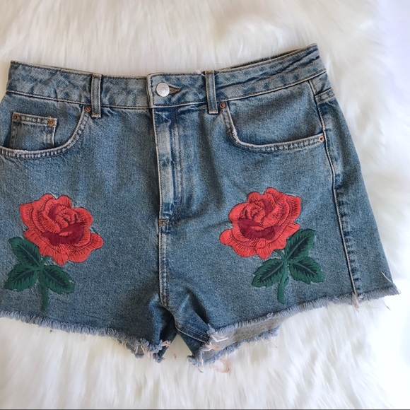 ae1a8abf5d Topshop Shorts | Moto Rose Embroidered Mom Cut Off | Poshmark